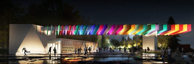 A rendering of the gateway, as it would appear at night.