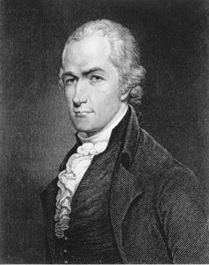 An undated photo of an etching of Alexander Hamilton.
