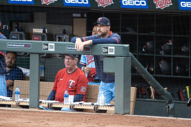 Twins manager Rocco Baldelli, the former Rhode Island high school star, watches as his team plays the Yankees in a game on June 9. In his third year at the helm, he has seen his team struggle below .500 all season.