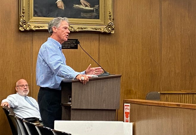 Thom McDaniels speaks to Canton City Council after receiving an honorary street name in his family's honor.