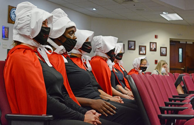 Local pro-choice demonstrators gathered inside the Manatee County Commission chambers Tuesday morning in Bradenton. The group of demonstrators, dressed as handmaidens, spoke to commissioners denouncing the potential abortion ban that has been discussed.