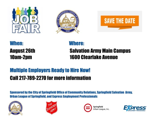 The Springfield Office of Community Relations is once again hosting a job fair Thursday at the Salvation Army's Main Campus at 1600 Clear Lake Ave. At vaccine clinic will also take place at the same time and place.