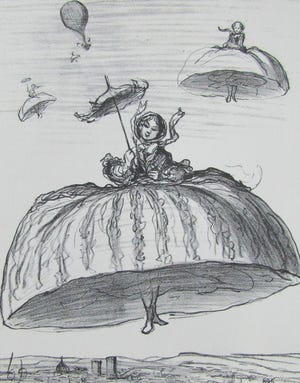 Another way to make use of the new petticoats that have lately become fashionable. [A Way of Using the Hoopskirts by Honore Daumier]