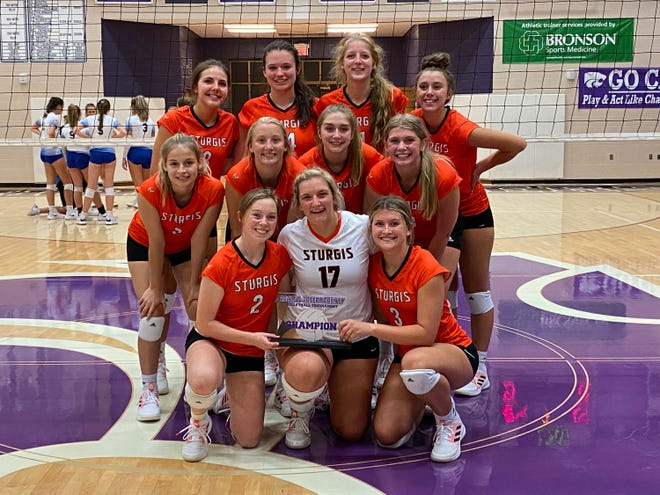 The Sturgis volleyball team took first place in the St. Joseph County Tournament held on Monday in Three Rivers.