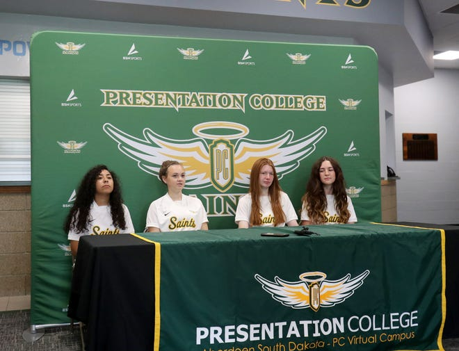 Presentation College women's soccer players, from left to right, Natalie Flores, Yasmin Knock, Abbie Rodgers, and Delainey Williams sit down for media day at the Strode Center. American News photo by Jenna Ortiz, taken 08/17/2021.