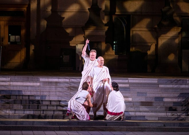 """A scene from """"Julius Caesar"""" from the Aug. 18 performance."""
