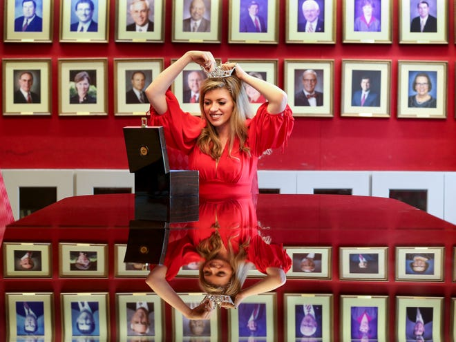 Isabella Powell is the reigning Miss University of Alabama. Because COVID-19 caused the cancellation of last year's pageant, she is the only woman to reign as Miss UA for two years. She is photographed in Alumni Hall Friday, Aug. 20, 2021. [Staff Photo/Gary Cosby Jr.]