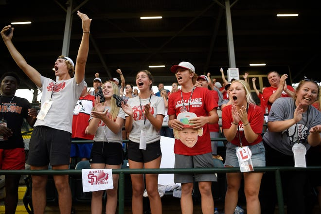 South Dakota fans celebrate after a single in the third inning against Oregon Monday at the 2021 Little League World Series in Williamsport, Pa. South Dakota won 3-0 and plays California today. See sports for a complete story.