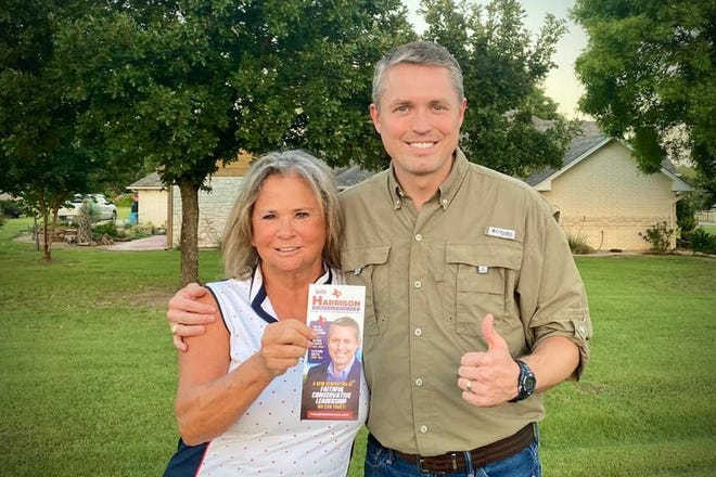 Former House District 10 special election candidate Susan Hayslip (left) endorses candidate Brian Harrison on Tuesday in a photo provided by the Harrison campaign.