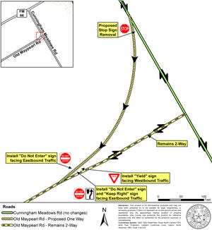 A diagram of a proposed traffic shift at the intersection of Cunningham Meadows Road and Old Maypearl Road in Ellis County. The existing turn lane at that location will be converted into one-way traffic.