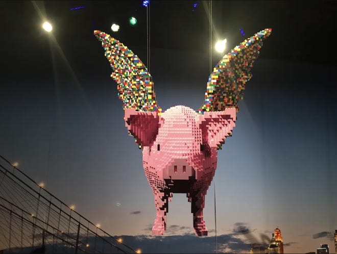 The flying pig at The Art of the Brick exhibit at Cincinnati Museum Center in 2016.