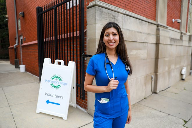 Dr. Asha Shajahan, a board-certified family physician, is the Medical Director of Community Health for Beaumont hospital in Grosse Pointe, Mich. and volunteers her time as a doctor to work with the homeless community at Pope Francis Center in downtown Detroit on Aug. 13, 2021. Dr. Shajahan is the recipient of the 2020 Shining Light Eleanor Josaitis Unsung Hero award.