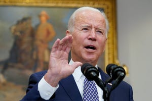 President Joe Biden speaks about the situation in Afghanistan from the Roosevelt Room of the White House in Washington, Tuesday.