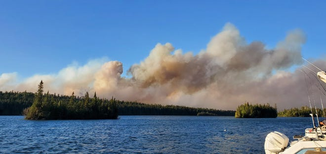 The Horne Fire can be seen from Tobin Harbor, near Rock Harbor at Isle Royale.