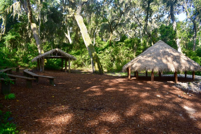 Huts and amphitheater at Fort Caroline National Monument within the Timucuan Ecological and Historic Preserve in Jacksonville.