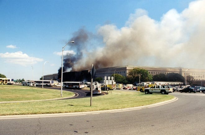 This undated photo provided by the FBI shows damage to the Pentagon caused during the 9/11 attacks. The FBI released a group of photos on March 30, 2017, showing the aftermath of the hijacked American Airlines Flight 77 crash into the Pentagon. Steven Latour, who now works at Fort Gordon, said his office was just around the corner from where the plane hit.