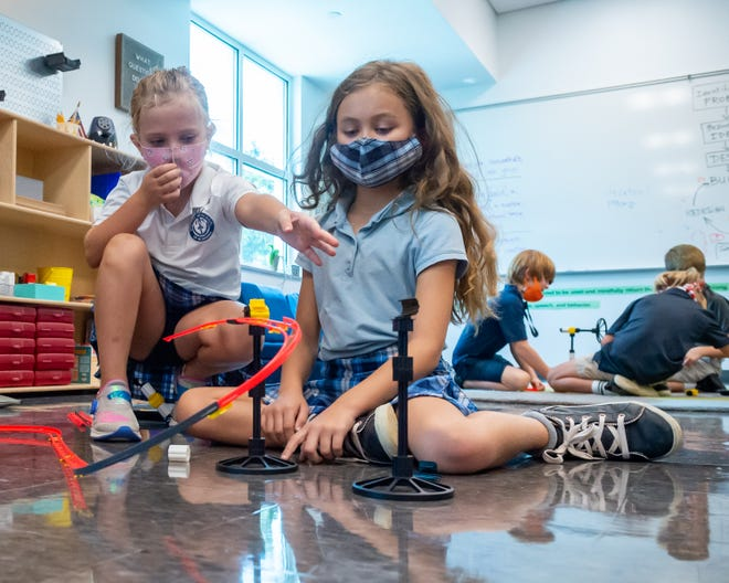 Third Graders building roller coasters in the Idea Lab in ESA's Lafayette Campus Enrichment Center.Tuesday, Aug. 24, 2021.