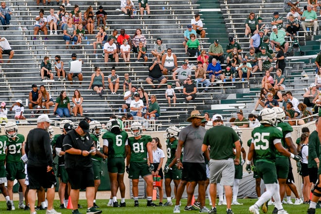 Michigan State fans watch during the Meet the Spartans open practice on Monday, Aug. 23, 2021, at Spartan Stadium in East Lansing.