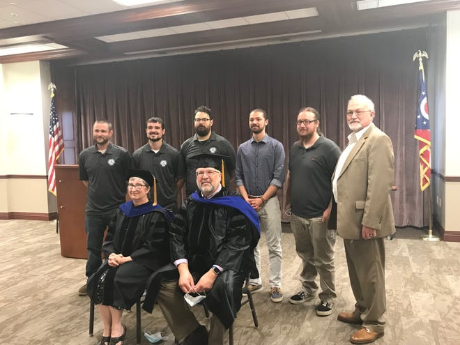 The North Central State College plastics technician certificate graduating class included, back row from left, Charter Next Generation employees Jameson Blackburn, Jordan Crider, James Feeney, Jacob Cherney, Morgan Mayton, and NCSC President Dorey Diab. Front Row, class instructors Anna and Kevin Andrews. A graduation ceremony was held Tuesday at the Kehoe Center in Shelby.