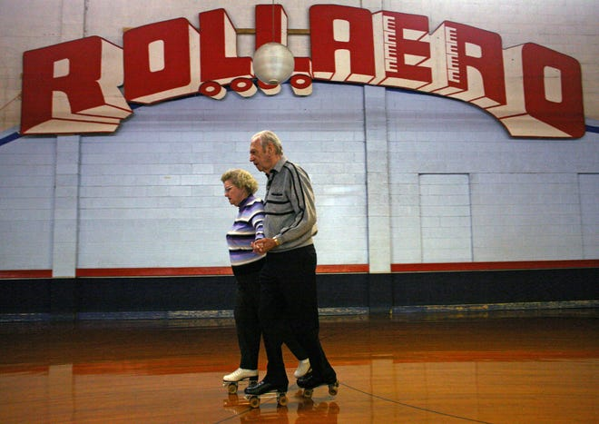 Millie and Art Lisser skate a number in this 2008 file photo during an adult skate session at Rollaero Skate Center, 5000 S. Pennsylvania Ave. in Cudahy. The rink closed for good Sunday, Aug. 22, 2021 after 42 years in business.