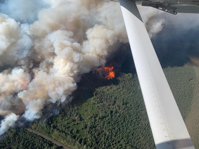 The Greenwood Fire burns near the Boundary Waters Canoe Area Wilderness in Minnesota on Aug. 15, 2021.