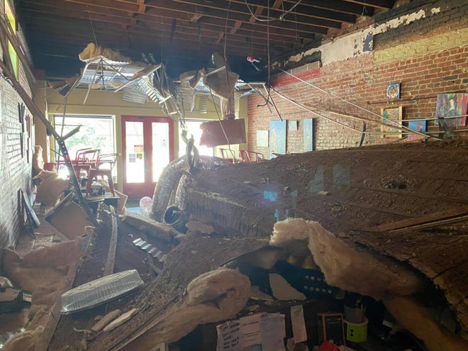The ceiling crashed down inside Montgomery's 5 Points Deli & Grill on Sunday.