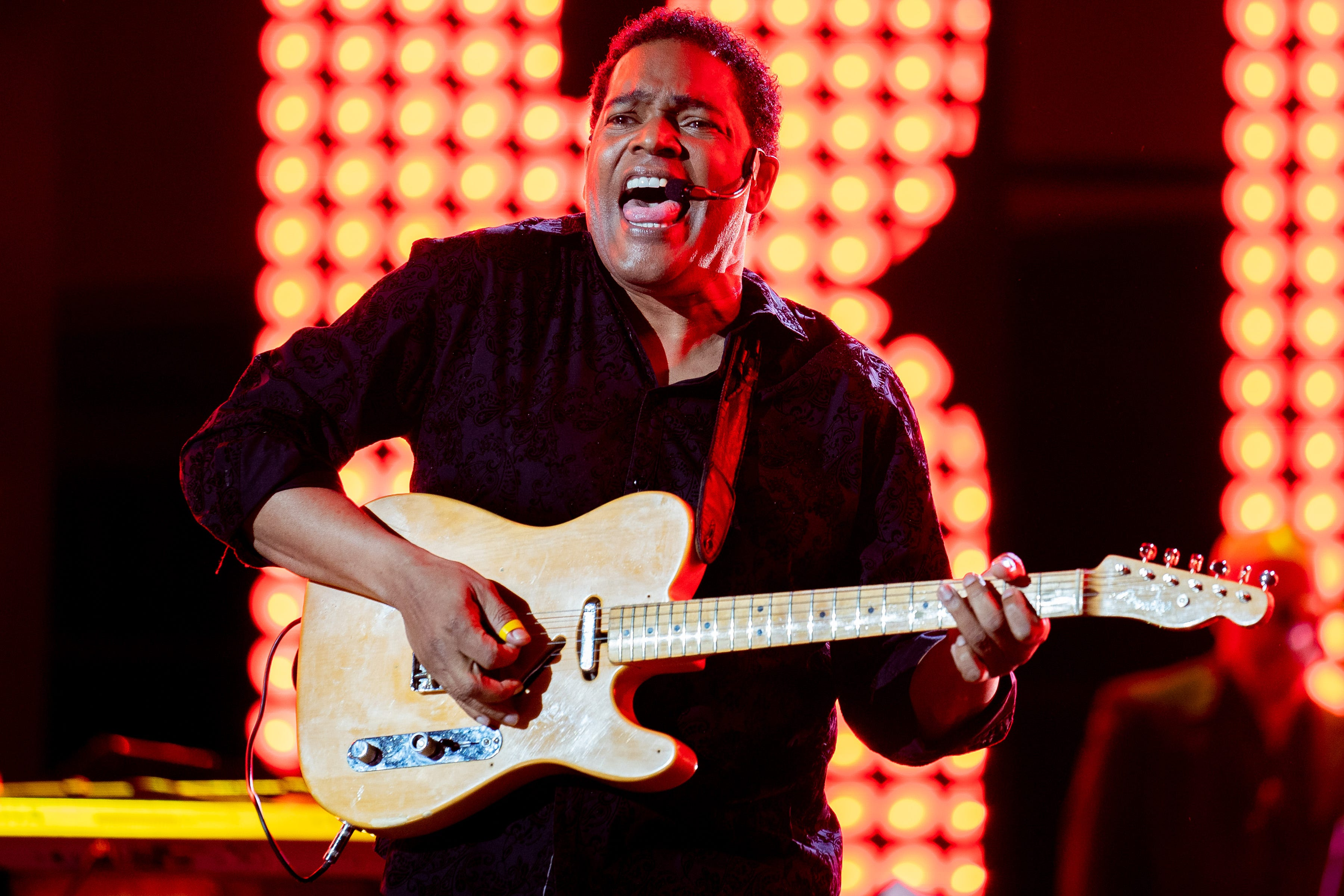 Dion Pride performs during the CMT Giants: Charley Pride show at Ascend Amphitheater in Nashville, Tenn., Thursday, April 8, 2021.