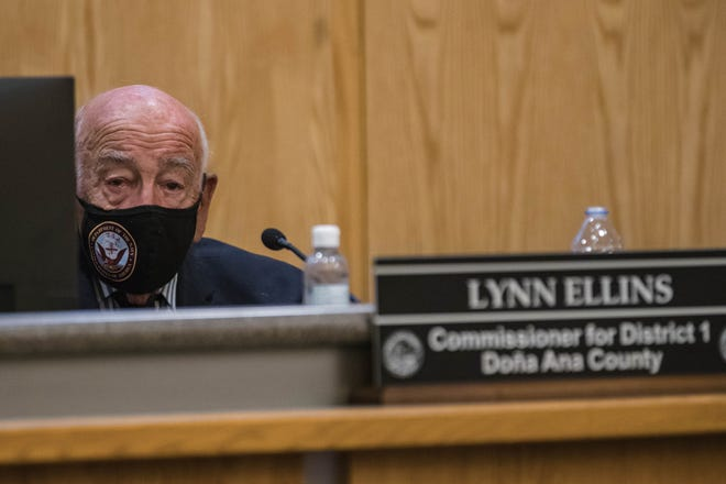 Lynn Ellins attends at a County Commission meeting at the Doña Ana County Government Center in Las Cruces on Tuesday, Aug. 24, 2021.