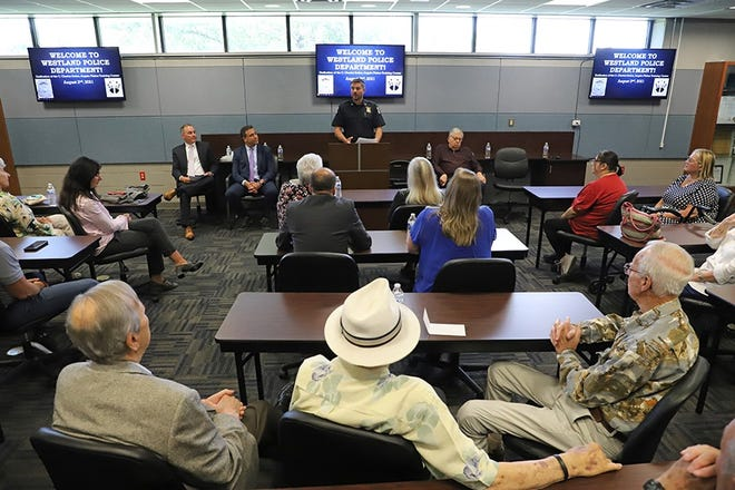 Westland Police Chief Jeff Jedrusik spoke at a recent dedication ceremony for the department's training center.