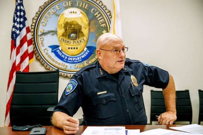 Indio Police Chief Mike Washburn discusses crime statistics for the city of Indio at the Indio Police Department in Indio, Calif., on August 24, 2021.