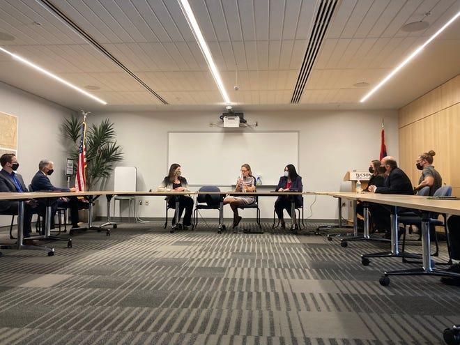 Sen. Kyrsten Sinema meets with Tucson Mayor Regina Romero and Arizona leadership to discuss the Infrastructure Investment and Jobs Act, on Aug 24.