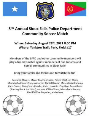 Flyer for the third annual Sioux Falls Police Department community soccer game on Saturday, Aug. 28 at 8 p.m..
