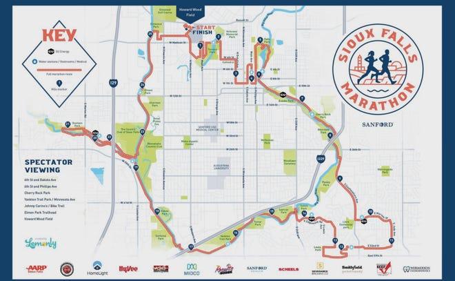 This year's Sioux Falls marathon map.