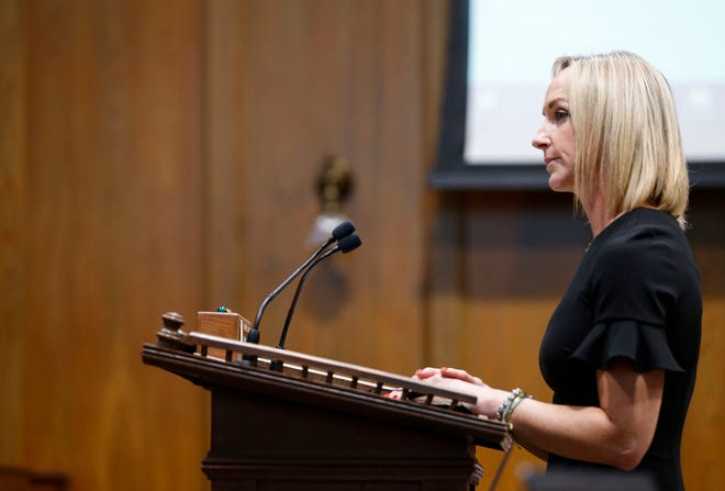 Springfield-Greene County Health Department Director Katie Towns gives an update to the Springfield City Council during a council meeting on Monday, Aug. 23, 2021.