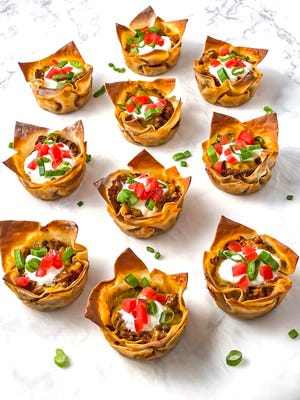 Wonton wrappers form the crunchy shell for Tasty Taco Cups.