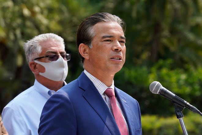 California Attorney General Rob Bonta speaks at a news conference in Sacramento, Calif., Tuesday, Aug. 17, 2021. Bonta announced that his office has reached a settlement with the city of Bakersfield requiring broad police reforms after an investigation over a long pattern of alleged police abuses. A state investigation, begun in 2016, found that the Bakersfield Police Department's actions deprived residents of their constitutional protections.