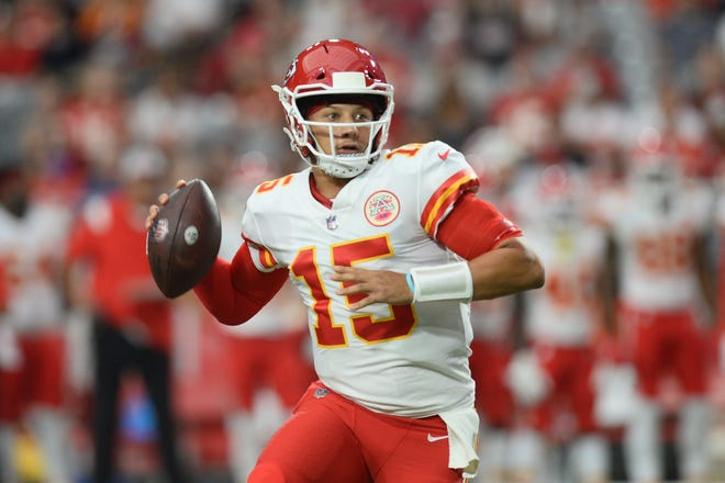 The Chiefs' Patrick Mahomes is once again the top-ranked fantasy quarterback after passing for 4,740 yards and 38 touchdowns last season.