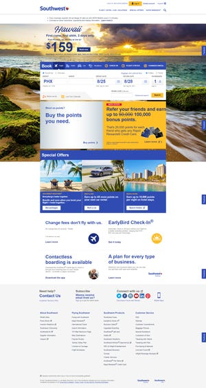 The Southwest Airlines website on Tuesday advertised cheap fares to Hawaii.