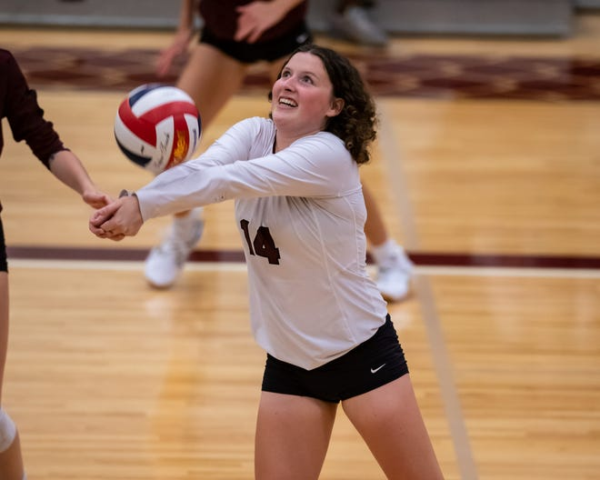Round Rock's Kaitlyn Bradley passes a ball during a nondistrict match against Bowie on Aug. 24. The senior libero has amassed 362 digs this season.