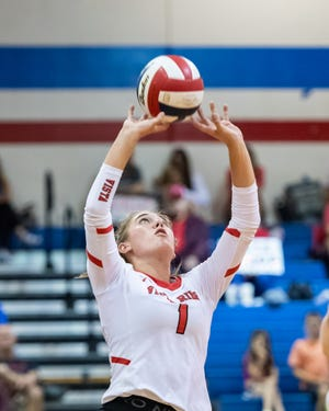 Vista Ridge setter Ryleigh Garis, competing against Georgetown in August, will play for UTSA after she graduates from high school. One of her goals is to lead the district in assists.