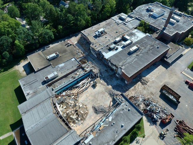Demolition of the old Hudson Middle School building started on Aug. 9 and is expected to occur for two more months. Hammond Construction is being paid approximately $1.2 million for abatement and demolition.