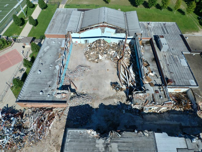 This drone photo shows the demolition work that is occurring at the site of the old Hudson Middle School building on Oviatt Street. The teardown started on Aug. 9 and is expected to continue for about two months.