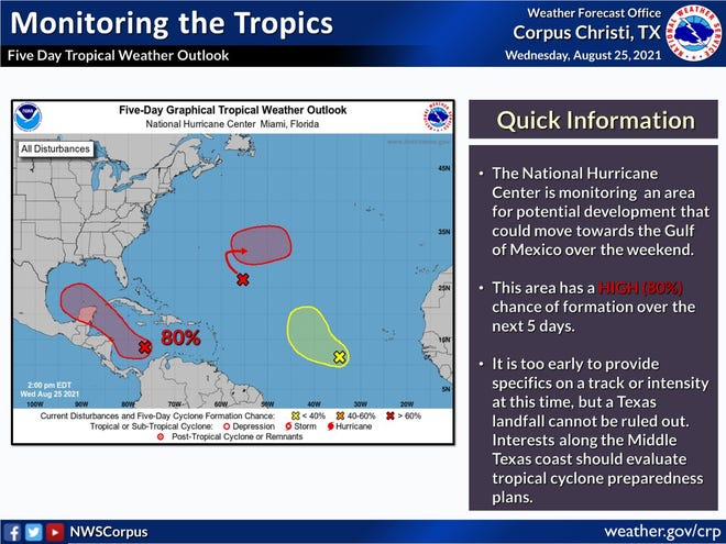 Keeping an eye on the weather: A tropical wave in the southern Caribbean Sea could head to the Texas coast in the next five days.