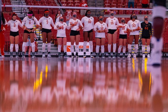 Texas players stand for the national anthem prior to a home match against Kansas last year at the Erwin Center. The Longhorns, who finished as national runners-up, are No. 1 in this season's preseason poll and will play their matches at Gregory Gym; their home matches were at the Erwin Center last year.
