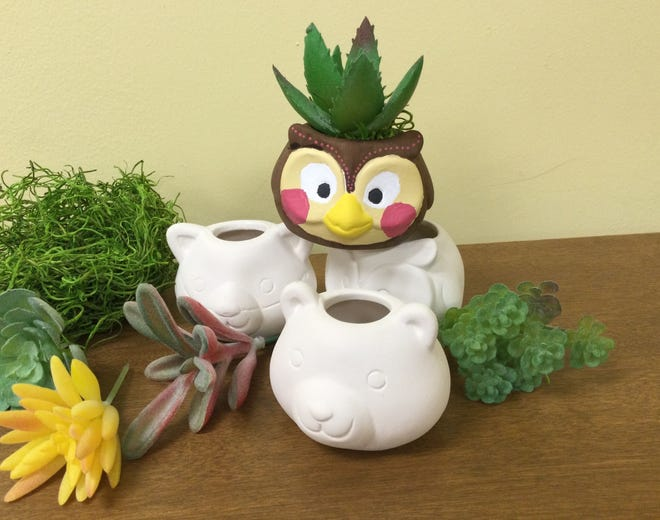 A children's craft activity on Sept. 9 at the Main Library will involve painting one of these woodland animal mini ceramic succulent planters.