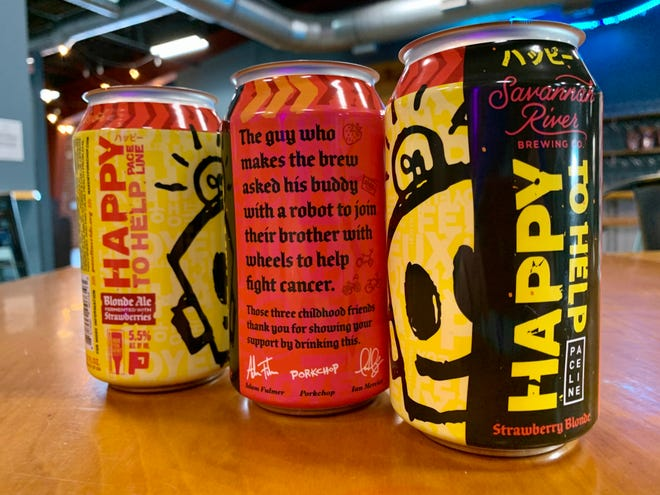 """""""Happy To Help"""" is a limited-run craft beer created by Savannah River Brewing Co. brewer Adam Fulmer, Augusta artist Leonard """"Porkchop"""" Zimmerman and Medical College of Georgia president and CEO Ian Mercier to raise funds for cancer research."""
