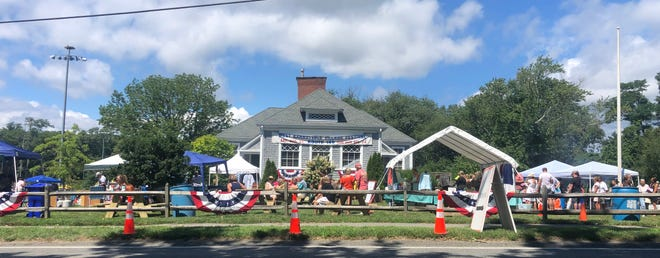 The West Barnstable Community Building all decked out for Village Fest.