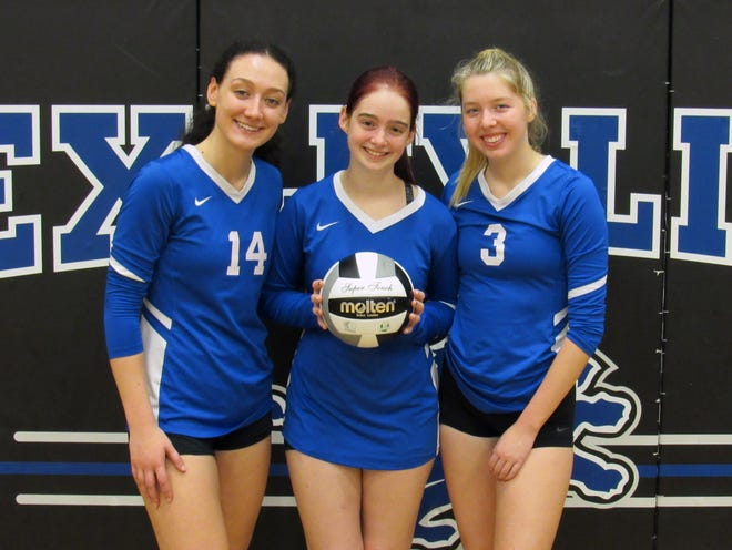 """Seniors Giulia Viglietta (left), Kelsey Cain and Emma Magee are leading the way for Bexley in the fourth season under coach Mindy Millard. """"I have to say all of our senior leaders have done a spectacular job of turning things around and making things a positive environment,"""" Millard said."""