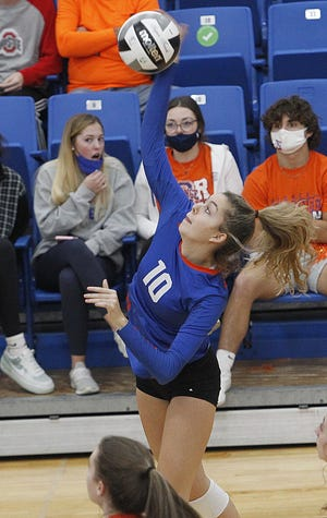 Senior Olivia McAtee has moved from right-side hitter to the middle, one of many position changes Orange has been forced to make this season. The Pioneers are seeking their sixth consecutive Division I district title.