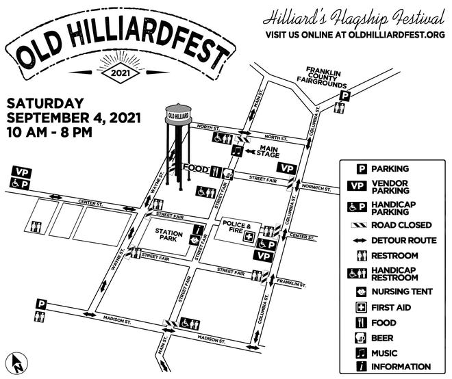 This map shows the boundaries of the Old Hilliardfest Art & Street Fair.